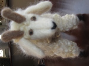 Felted Pygora, face; designed and needle felted by J Strader